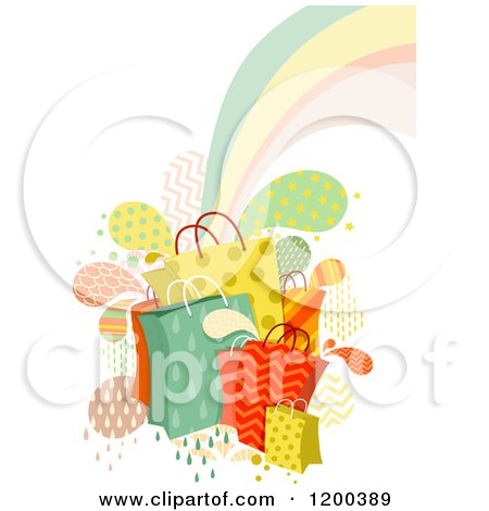 Cartoon of Patterned Shopping Bags Splashes and a Rainbow - Royalty Free Vector Clipart by BNP Design Studio