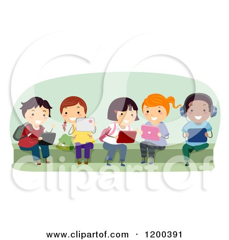 Cartoon of a Group of Happy Diverse School Children Using Tablet Computers on a Bench - Royalty Free Vector Clipart by BNP Design Studio