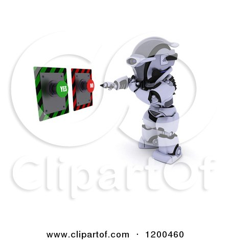 Clipart of a 3d Robot Reaching for Yes and No Buttons - Royalty Free CGI Illustration by KJ Pargeter