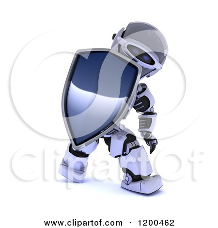 Clipart of a 3d Protective Robot Holding a Shield - Royalty Free CGI Illustration by KJ Pargeter