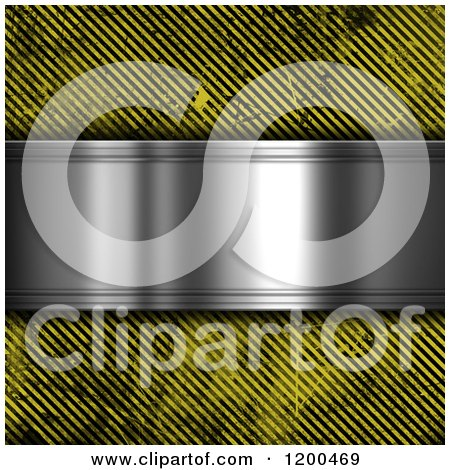 Clipart of a 3d Silver Plaque over Grungy Diagonal Hazard Stripes - Royalty Free CGI Illustration by KJ Pargeter