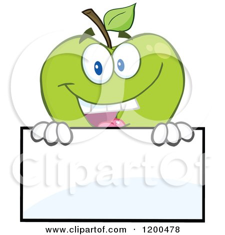 Cartoon of a Happy Green Apple Smiling over a Sign Board - Royalty Free Vector Clipart by Hit Toon
