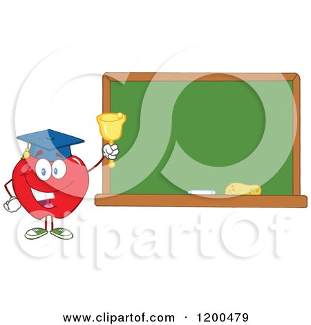 Cartoon of a Happy Red Apple Wearing a Graduation Cap and Ringing a Bell by a Chalkboard - Royalty Free Vector Clipart by Hit Toon