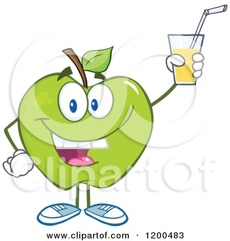 Cartoon of a Happy Green Apple Holding up a Glass of Juice or Cider - Royalty Free Vector Clipart by Hit Toon