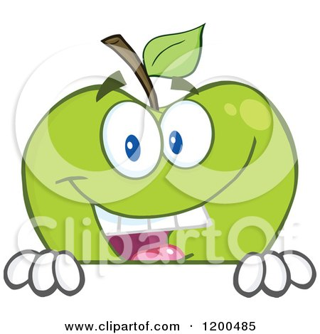 Cartoon of a Smiling Green Apple over a Sign or Ledge - Royalty Free Vector Clipart by Hit Toon