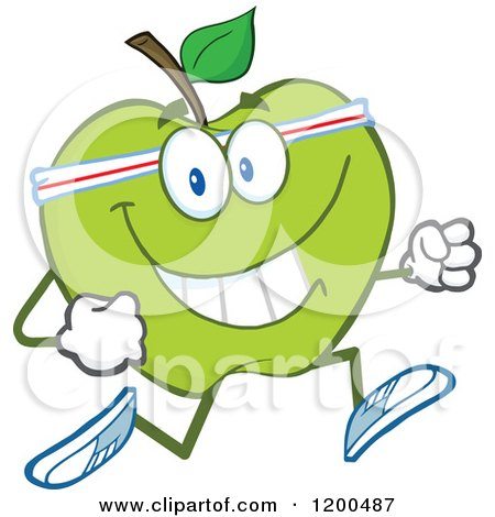 Cartoon of a Healthy Fit Green Apple Jogging - Royalty Free Vector Clipart by Hit Toon
