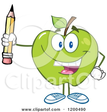 Cartoon of a Happy Green Apple Holding a Pencil - Royalty Free Vector Clipart by Hit Toon