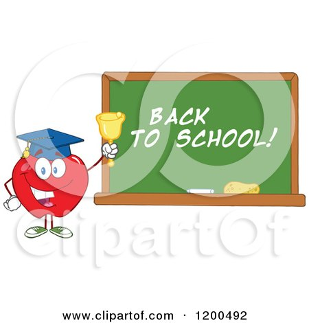 Cartoon of a Happy Red Apple Wearing a Graduation Cap and Ringing a Bell by a Back to School Chalkboard - Royalty Free Vector Clipart by Hit Toon