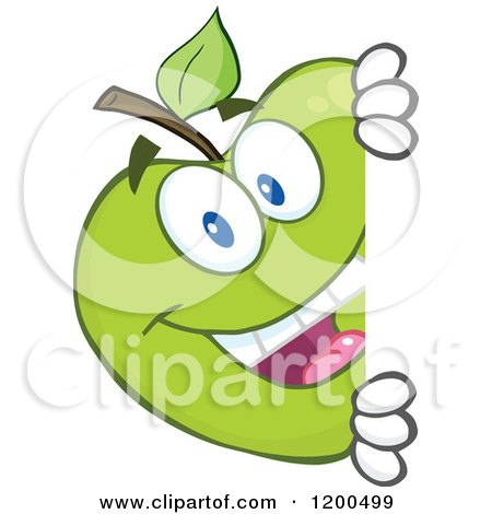 Cartoon of a Happy Green Apple Looking Around a Sign or Corner - Royalty Free Vector Clipart by Hit Toon