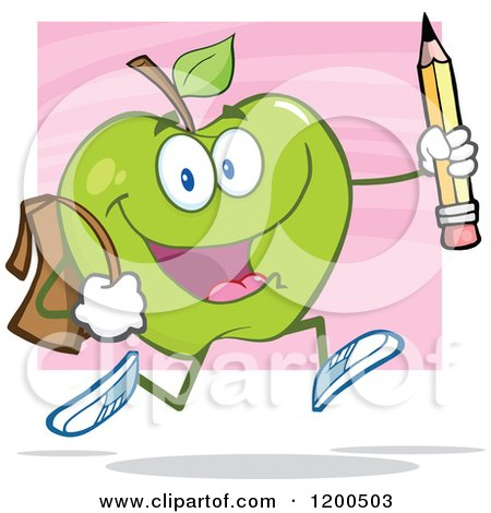 Cartoon of a Happy Green Apple Running with a Backpack and Pencil over Pink - Royalty Free Vector Clipart by Hit Toon