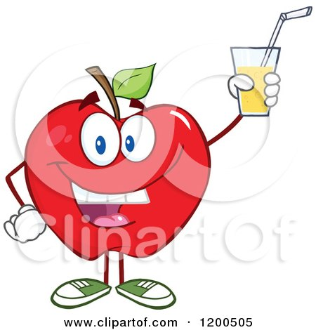 Cartoon of a Happy Red Apple Holding up a Glass of Juice or Cider - Royalty Free Vector Clipart by Hit Toon