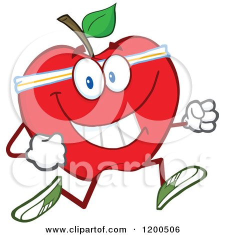 Cartoon of a Healthy Fit Red Apple Jogging - Royalty Free Vector Clipart by Hit Toon