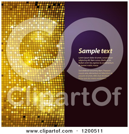 Clipart of a Sparkly Gold Mosaic and Purple Panel with Sample Text - Royalty Free Vector Illustration by elaineitalia