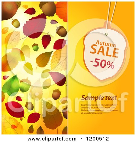 Clipart of an Acorn Shaped Autumn Sale Discount Tag over Sample Text on a Panel with Autumn Leaves - Royalty Free Vector Illustration by elaineitalia