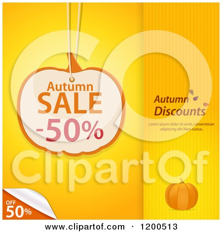 Clipart of a Pumpkin Shaped Autumn Sale Discount Tag over Yellow Panels with a Peeling Corner and Sample Text - Royalty Free Vector Illustration by elaineitalia
