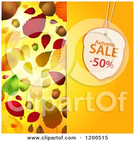 Clipart of an Acorn Shaped Autumn Sale Discount Tag over a Panel with Autumn Leaves - Royalty Free Vector Illustration by elaineitalia