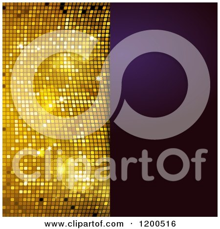 Clipart of a Sparkly Gold Mosaic and Purple Panel with Text Space - Royalty Free Vector Illustration by elaineitalia