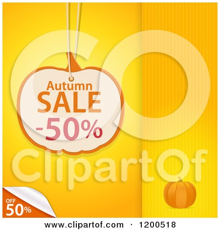Clipart of a Pumpkin Shaped Autumn Sale Discount Tag over Yellow Panels with a Peeling Corner and Copyspace - Royalty Free Vector Illustration by elaineitalia
