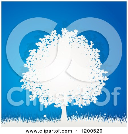 Clipart of a 3d White Paper Tree and Grass over Bue - Royalty Free Vector Illustration by elaineitalia