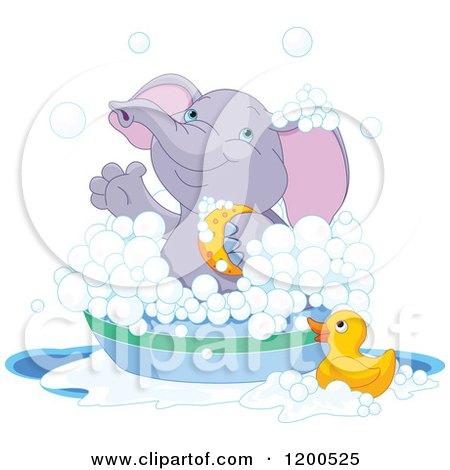 Cute Purple Elephant Bathing in a Tub Posters, Art Prints
