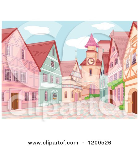 Clipart of a European Village with a Clock Tower and Brick Road - Royalty Free Vector Illustration by Pushkin