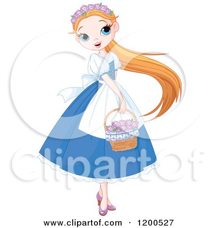 Pretty Girl in a Blue Dress, Carrying a Basket of Flowers Posters, Art Prints