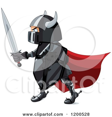 Clipart of a Knight in Black Armour and a Red Cap, Holding a Shield and Sword - Royalty Free Vector Illustration by Pushkin