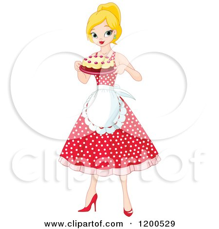 Clipart of a Pretty Blond Woman an Apron and Polka Dot Dress, Holding a Cake - Royalty Free Vector Illustration by Pushkin