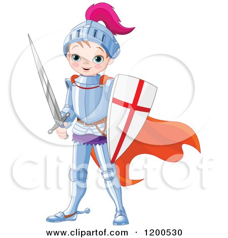 Clipart of a Cute Magic Prince Knight Boy in Armour, with a Shield and Sword - Royalty Free Vector Illustration by Pushkin