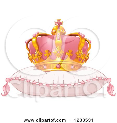 Clipart of a Pink and Gold Princess Crown on a Fluffy Pillow - Royalty Free Vector Illustration by Pushkin