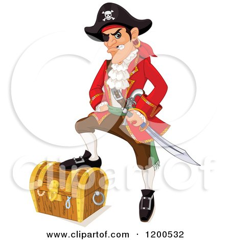 Clipart of a Tough Pirate Resting a Foot on a Treasure Chest - Royalty Free Vector Illustration by Pushkin