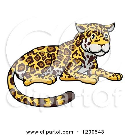 Cartoon of a Cute Jaguar Resting - Royalty Free Vector Clipart by AtStockIllustration