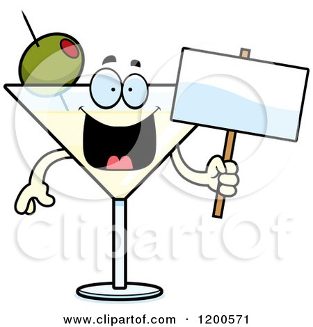 Cartoon of a Happy Martini Mascot Holding a Sign - Royalty Free Vector Clipart by Cory Thoman