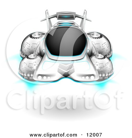 Hover Car Floating Above The Ground Clipart Illustration