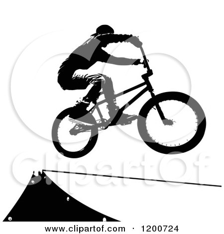 Clipart of a Black Silhouetted Sports Bike Rider over a Ramp - Royalty Free Vector Illustration by Arena Creative