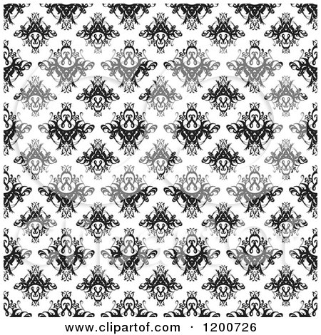 Clipart of a Black and White Seamless Damask Pattern - Royalty Free Vector Illustration by Arena Creative