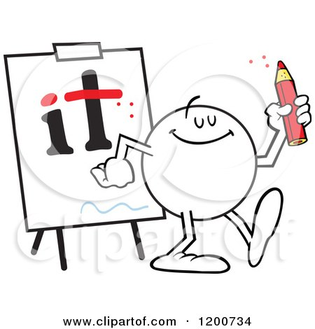 Cartoon of a Moodie Character Dotting I's and Crossing T's - Royalty Free Vector Clipart by Johnny Sajem