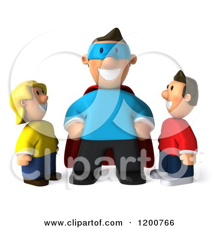 Clipart of a 3d Happy Super Dad and Children - Royalty Free CGI Illustration by Julos