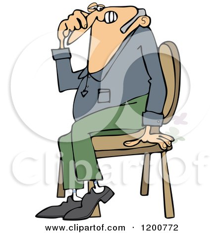 Cartoon of a Farting Guy Sitting in a Chair and Passing Gass - Royalty Free Vector Clipart by djart