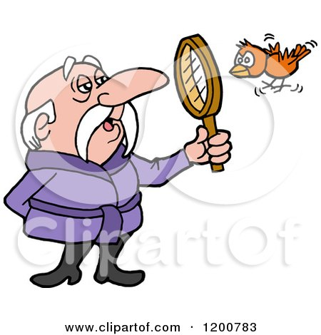Cartoon of a Senior Birdwatching Man in a Robe, Viewing a Bird Through a Magnifying Glass - Royalty Free Vector Clipart by LaffToon