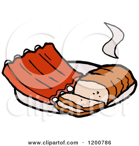 Cartoon of a Hot Beef Brisket and Bbq Ribs - Royalty Free Vector Clipart by LaffToon