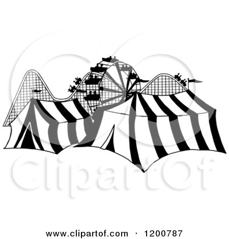 Cartoon of a Black and White Ferris Wheel Roller Coaster and Circus Tents in a Theme Park - Royalty Free Vector Clipart by LaffToon
