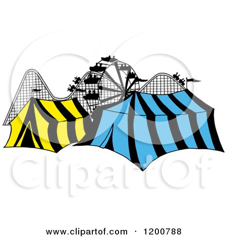 Cartoon of a Ferris Wheel Roller Coaster and Circus Tents in a Theme Park - Royalty Free Vector Clipart by LaffToon