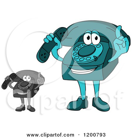 Clipart of a Turquoise and Grayscale Telephone Mascot Holding a Receiver and a Finger up - Royalty Free Vector Illustration by Vector Tradition SM