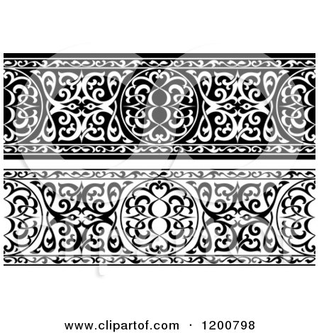 Clipart of Black and White Ornate Arabian Borders - Royalty Free Vector Illustration by Vector Tradition SM