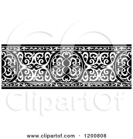Clipart of a Black and White Ornate Arabian Border - Royalty Free Vector Illustration by Vector Tradition SM