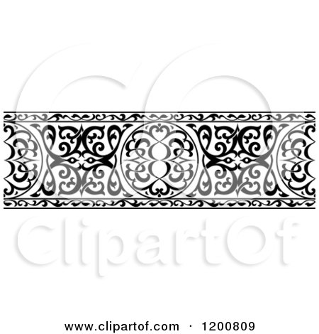 Clipart of a Black and White Ornate Arabian Border 2 - Royalty Free Vector Illustration by Vector Tradition SM
