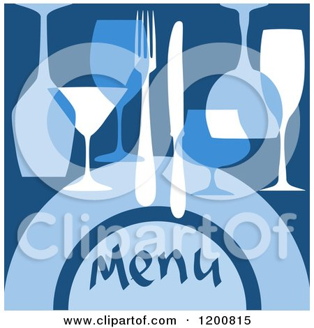 Clipart of a Beverage Menu with Glasses and Silveware on Blue - Royalty Free Vector Illustration by Vector Tradition SM