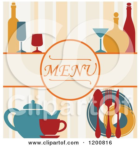 Clipart of a Beverage Menu with Bottles Glasses and Silveware on Stripes - Royalty Free Vector Illustration by Vector Tradition SM
