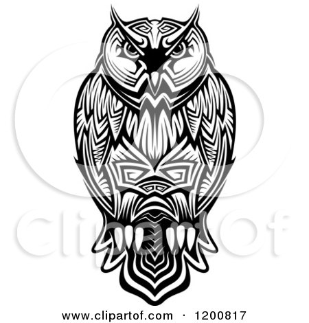 Clipart Of A Black And White Tribal Owl Royalty Free Vector Illustration